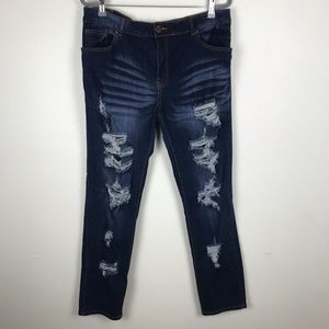 VIP Ripped Distressed Blue Skinny Jeans Size 16